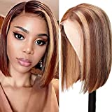 UNice Highlight Ombre Blonde 13x4 Lace Front Short Bob Wigs Human Hair for Black Women Brazilian Remy Hair Brown Blonde Streaks Straight Lace Frontal Wig Pre Plucked with Baby Hair 150% Density (12 inch)