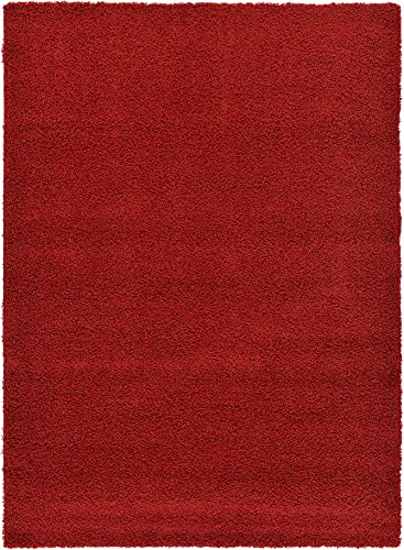 Unique Loom Solo Solid Shag Collection Area Modern Plush Rug Lush & Soft, 7' 0 x 10' 0, Cherry Red