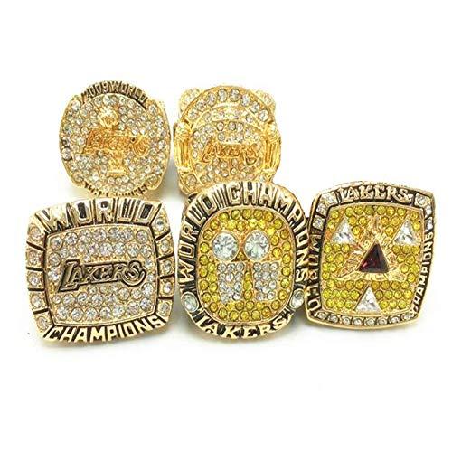 FGRGH Anillos del campeonato de Los Angeles Laker, juego de 5 anillos, MVP, con caja expositora para fans de coleccionistas, tamaño 8-14, sin caja de 9