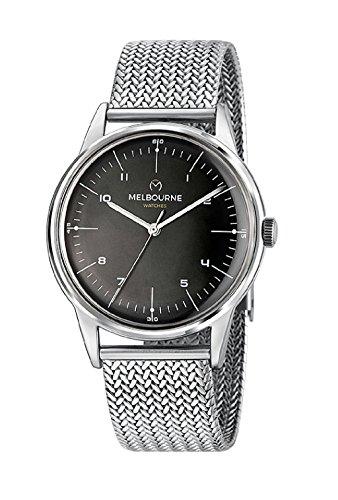 Uhr Melbourne Mailänder Mesh-Armband schwarzes Zifferblatt