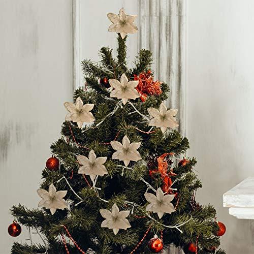 LIOOBO 30pcs Albero di Natale Fiori Artificiali Stella di Natale Dorata Albero di Natale Fiori appesi Finti Fiori Artigianali Decorazioni Dorate per Feste di Natale