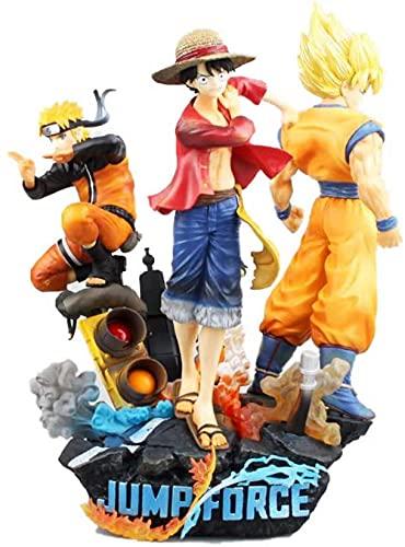 TQGG 3 Piezas Jump Force Luffy Son Goku Naruto Figura de acción figuritas Estatua de coleccionista 18Cm
