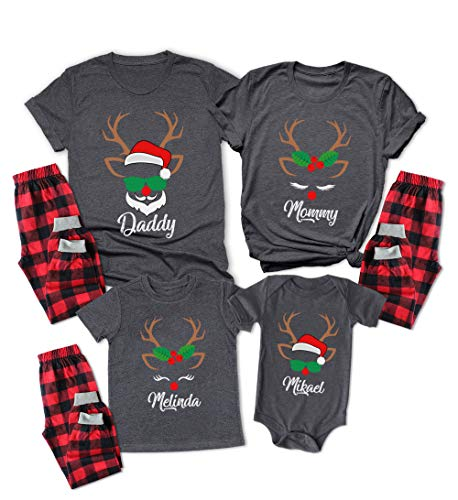 Custom Matching Christmas Pjs for Family Rudolph Red Nose Santa Reindeer Printed Pajamas Set