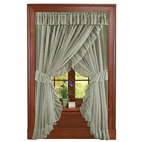 Collections Etc Isabella Ruffled Sheer Fabric Rod Pocket Window Curtain Set, Sage