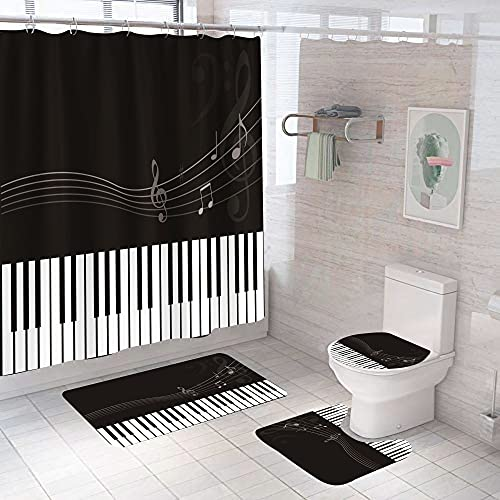 AETTP 4 Stück Schwarz Weiß Klavier 3D Duschvorhang Musik Mit Rutschfester Teppich Matte Badezimmer Gardinen Wasserdicht Polyester Wohnkultur Geschenk 180X180CM