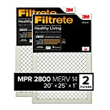 Filtrete MPR 2800 20x25x1 AC Furnace Air Filter, Healthy Living Ultrafine Particle Reduction, 2-Pack
