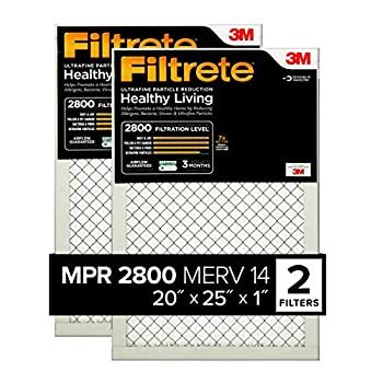 Filtrete 20x25x1 AC Furnace Air Filter MPR 2800 Healthy Living Ultrafine Particle Reduction 2-Pack  exact dimensions 19.719 x 24.688 x 0.78