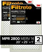 Filtrete 20x25x1, AC Furnace Air Filter, MPR 2800, Healthy Living Ultrafine Particle Reduction, 2-Pack (exact dimensions 19.719 x 24.688 x 0.78)