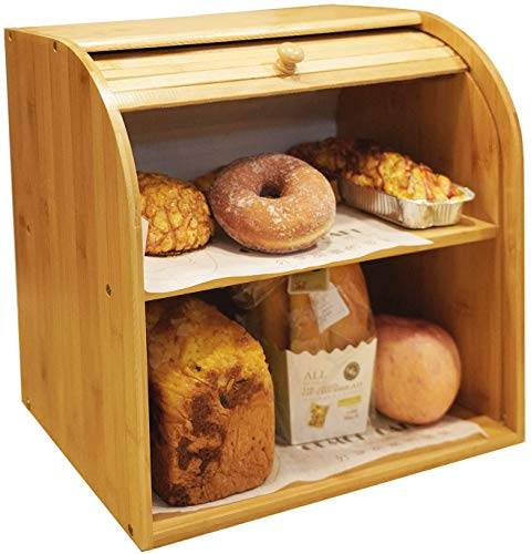 "Bamboo Bread Box - 2 Layer Large Capacity Bread Box for Kitchen Food Storage, Large Capacity Bread Keeper Roll Top with Removable Layer, 15"" x 14.2' x 9.8',Self-assembly (2 Layer)"