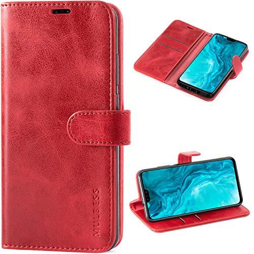 Mulbess Handyhülle für Huawei Honor 9X Lite Hülle Leder, Huawei Honor 9X Lite Handy Hüllen, Vintage Flip Handytasche Schutzhülle für Huawei Honor 9X Lite Hülle, Wein Rot