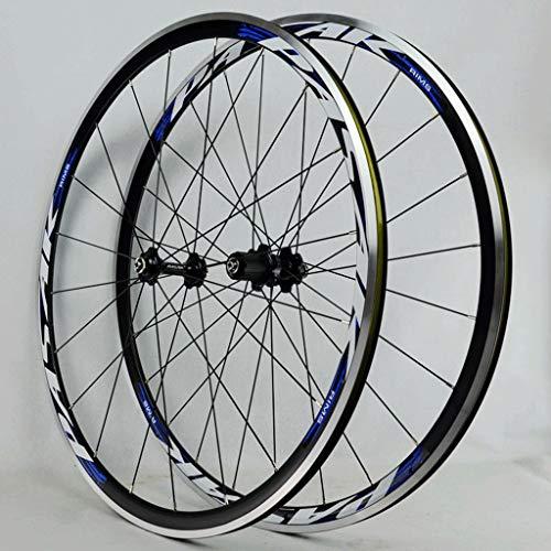 LSRRYD Juego Ruedas Bicicleta 700C Rueda Bicicleta Carreras Freno C/V Llanta Aleación Doble Pared Casete 7-11 Velocidades Buje Cojinete Sellado 6T QR (Color : Blue, Size : 700C)