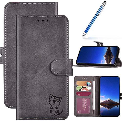 URFEDA Kompatibel mit Huawei Y6 2019 Handyhülle Handytasche,Flipcase 3D Katze Schutzhülle Bookstyle Brieftasche Kartenfächer Magnetverschluß Klapphülle Leder Tasche Wallet Etui,Grau