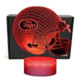 49ers - DGLighting NFL Football Team 3D Optical Illusion Smart 7 Colors LED Night Light Table Lamp with USB Power Cable and Smart Button, for NFL Fans Gift (San Francisco 49ers)