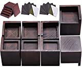 FASONLA Bed Risers (Set of 8) Furniture Risers Lifts Height 3', Solid Natural Wood Risers for Bed, Furniture, Table, Sofa, Chair Risers with Non-Slip Recessed Hole (Walnut Color)