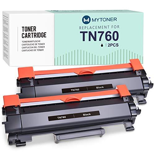 MYTONER - Cartucho de tóner Compatible para Impresora Brother TN730 TN-760 TN760 para Brother HL-L2390DW HL-L2350DW DCP-L2550DW MFC-L2750DW MFC-L2710DW HL-L2370DW XL (2 Unidades), Color Negro