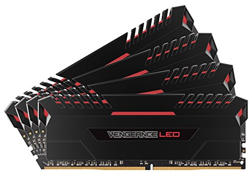 Corsair Vengeance LED 64GB (4x16GB) DDR4 3200MHz C16 XMP 2.0 Enthusiast LED-Beleuchtung Speicherkit - Schwarz mit Rot LED Beleuchtung