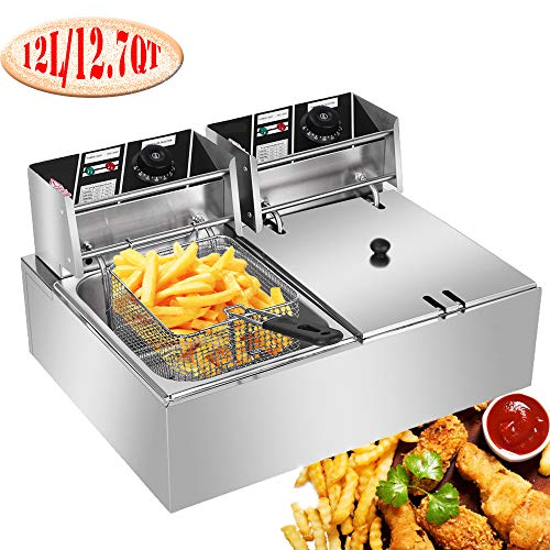 Professional-style Deep Fryer with Dual Baskets, 5000W 2x6L Stainless Steel Electric Commercial Deep Fryers for Turkey French Fries Home Kitchen Restaurant, Total Capacity 12.7QT/12L (12L)