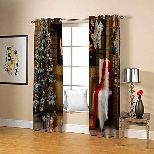 LOVEXOO Blickdichte Gardinen Weihnachtsbaum 130x140 cm Verdunkelungs Vorhang - Lichtundurchlässige Vorhang mit Ösen für Schlafzimmer Geräuschreduzierung Grau 2er Set