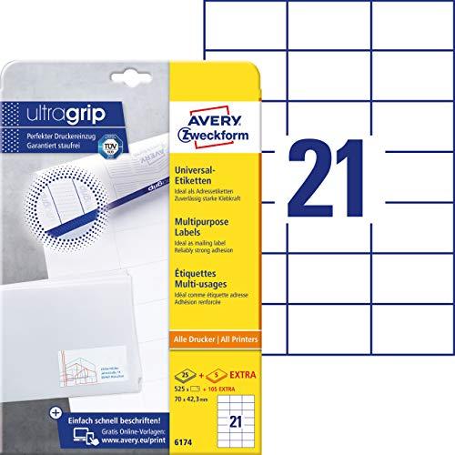 AVERY Zweckform 6174 Adressaufkleber (mit ultragrip, 70 x 42,3 mm auf DIN A4, Papier matt, bedruckbare, selbstklebende Adressetiketten, 630 Klebeetiketten auf 30 Blatt) weiß