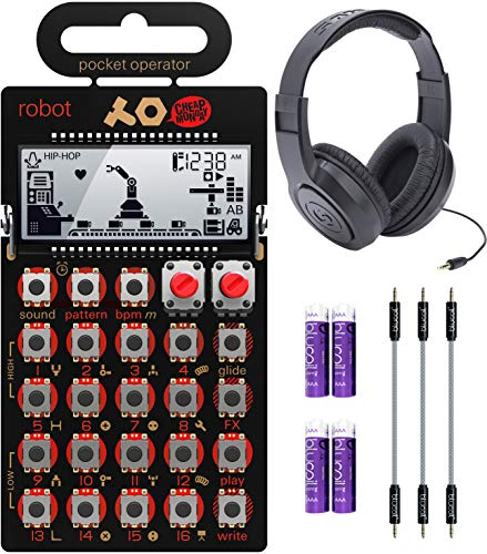 Teenage Engineering PO-28 Pocket Operator Robot Lead Synthesizer/Sequencer Bundle with Samson SR350 Over-Ear Closed-Back Headphones, Blucoil 3-Pack of 7' Audio Aux Cables, and 4 AAA Batteries