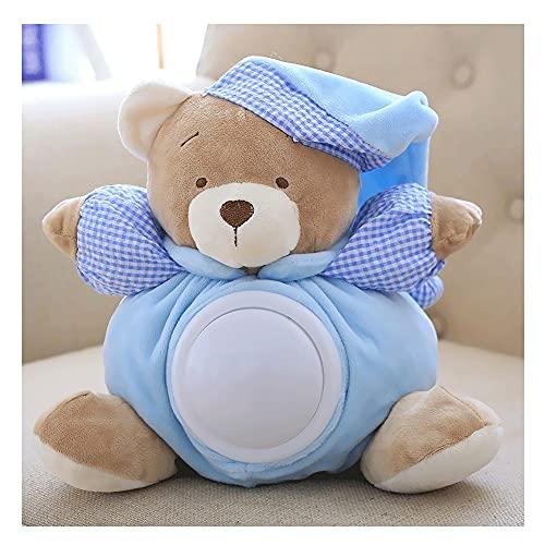 Miffen Pacifica Al Oso Peluche Interactivo De Aprendizaje,Regalo para Bebé Niña Baby Shower Calmante del Sueño,Recién Nacido Luz Quitamiedos Infantil (Color : Blue)