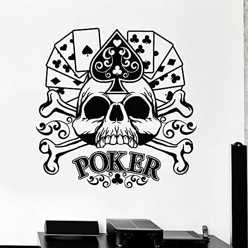 Solitaire poker wall decal card juego jugador cráneo huesos estilo fresco puertas y ventanas vinilo pegatinas gente cueva jugador club decoración de interiores