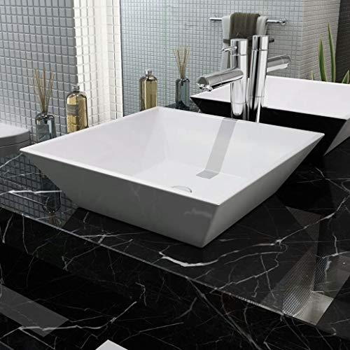 vidaXL Lavabo Carrée Céramique Blanc 41,5x41,5x12 cm Vasque à Poser Salle Bain