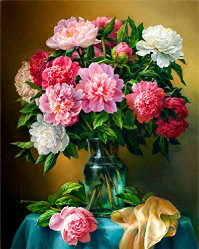 Pintura por Números para Adultos, Flor blanca roja Kit de Pintura al óleo de Lienzo DIY para Niños con Pinceles, Pigmento Acrílico, Pintura de Dibujo DIY, 40X50 cm Sin Marco