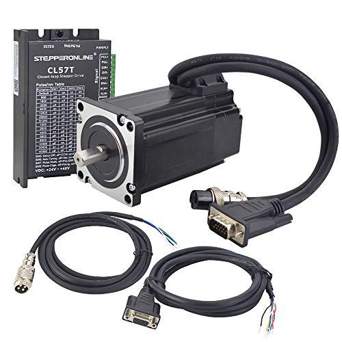 STEPPERONLINE Kit de motor paso a paso de 1 eje cerrado, 3,0 Nm 1000CPR Nema 24 Stepper Motor & paso Motor Driver 0-8,0 A 24-48 VDC para máquina de grabado CNC