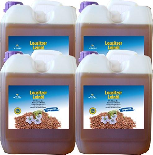 Hoyo Technology GmbH Leinöl 20 Liter (4 x 5 Liter) Lausitzer kaltgepresst ohne Konservierungsstoffe