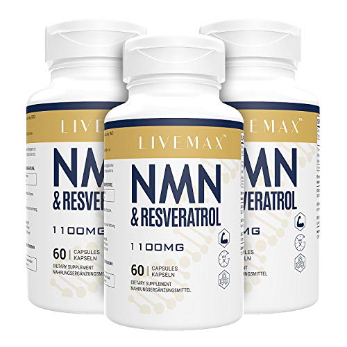 Maximale Absorption Trans-Resveratrol 600mg + NMN 500mg | 180 Vegane Kapseln | Hohe Antioxidantien | Vegan | Glutenfrei | Non GMO (3PACK)