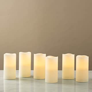 """Flameless LED Candles with Remote - Set of 6, Real Wax, 3"""" x 6"""" Ivory Pillar Candles, Warm White Flickering Lights, Timer ..."""