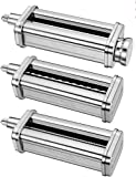 iVict 3-Piece Pasta Roller & Cutters Attachments Set for All KitchenAid Stand Mixers
