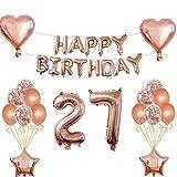 Oumezon 27 cumpleaños niña decoración oro rosa 27 cumpleaños decoración para niñas niños Happy Birthday Girlande Banner Globo de papel globos decoración cumpleaños número globos