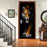 ホームデコレーションのための3Dドアステッカー壁紙インテリア動物猫タイガー・ウォールミューラルステッカーリムーバブルステッカー,Tiger