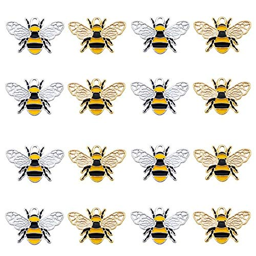 Pack of (x16) Oil Drip Enamel Alloy Honey Bee Charms Mixed Colors Craft for Bracelets Earrings Necklaces Pendants Keyrings Keychains Jewellery Handicraft Accessories Approx.26x17mm