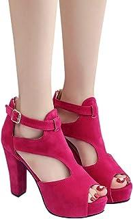 anruo High heels women high heels wedding party shoes thick bottom women's shoes high heels