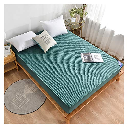 LJP Cotton Quilted Mattress Protector Cover Not Easy To Pilling Mattress Encasement Breathable Fitted Bed Cover Deep (Color : Forest green, Size : 180x220cm)