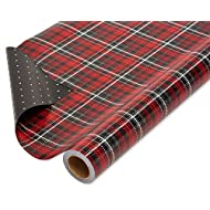 American Greetings Reversible Christmas Wrapping Paper Jumbo Roll Pred and Black Plaid (1 Pack, 175 sq. ft