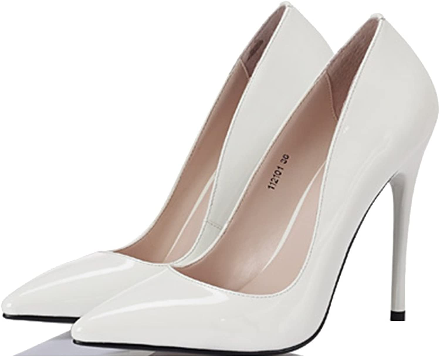 Mesurn Women's shoes - Europe and The United States Ultra high Heels Sexy Shallow Mouth Wedding White shoes Heeled Sandals (color   High 10cm, Size   35-shoes long225mm)