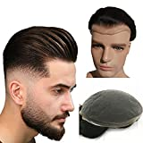NLW European human hair toupee for men with soft Super fine Swiss lace 10x8' hair pieces replacement system for men #2 Dark brown