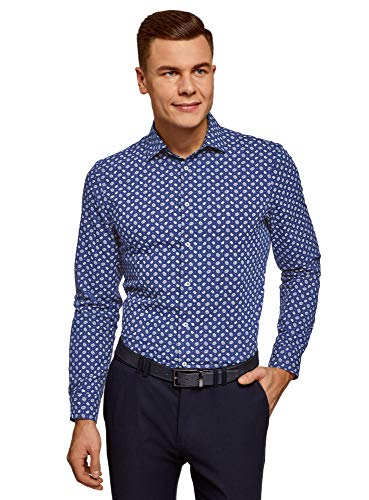 oodji Ultra Hombre Camisa Estampada Entallada, Azul, сm 39,5 / ES 46-48 / S