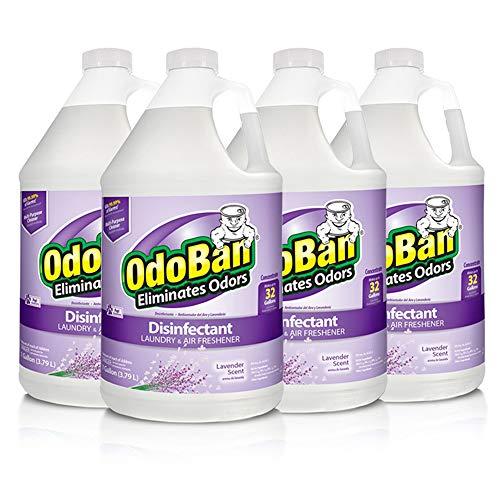 OdoBan Multipurpose Cleaner Concentrate 4 Gallons, Lavender Scent, 4 Pack, Odor Eliminator, Disinfectant, Flood Fire Water Damage Restoration