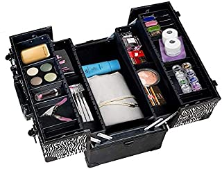 Royal Brands Pro Aluminum Makeup Train Case with Shoulder Strap Jewelry Box Cosmetic Travel Locking Organizer Black 53753