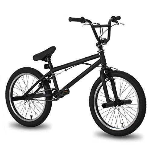 FingerAnge Bicicletta da 20 Pollici BMX Freestyle in Acciaio, Bicicletta da Acrobazia con Freni a Doppia Ruota Black