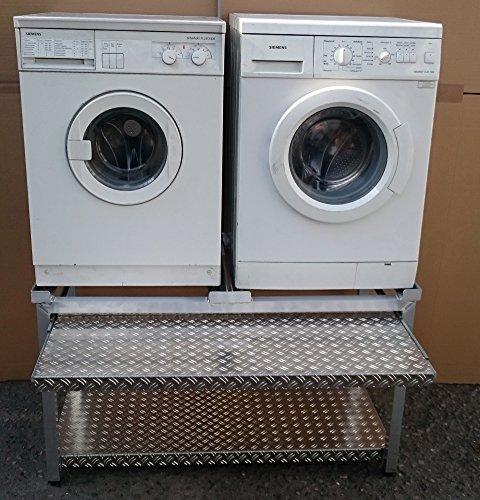 Waschmaschinen Untergestell Mara 2 Premium 700 WASCHCENTER mit 1 Teleskop-Auszug rappelfrei für Wäschekörbe/70 cm hoch/mit Ablageblech unten/verstärkte Alu-Ausführung/rostfrei/für 2 Maschinen