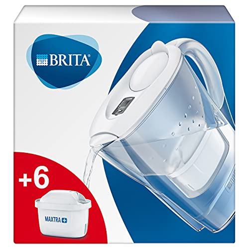 BRITA Marella blanca Pack Ahorro – Jarra de Agua Filtrada con 6 cartuchos MAXTRA+, Filtro de agua BRITA que reduce la cal y el cloro, Agua filtrada para un sabor óptimo, 2.4L