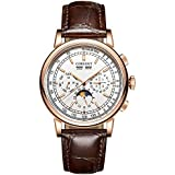 Corgeut Mens Watch-Fashion Moon Phase Automatic Mechanical Watch with Leather Strap (2057-goldwhite)