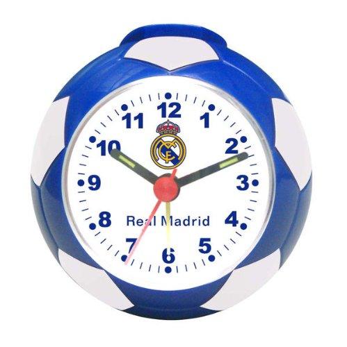 142| RELOJ DESPERTADOR REAL MADRID EN FORMA DE BALON, PRODCTO OFICIAL