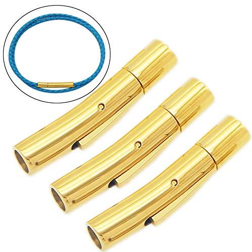 Xinlie Sieraden Magnetische Sluitingen RVS Lederen Koord Einde Cap voor Armband Ketting Maken Koord Einde Caps voor Sieraden maken, Duw Sluitingen voor Lederen Touw Ketting Armband Gesp 3 Stks goud
